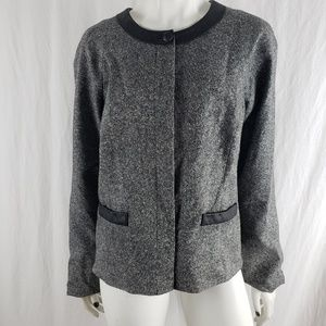 Pendleton Blazer Tweed Round Neck Gray Black